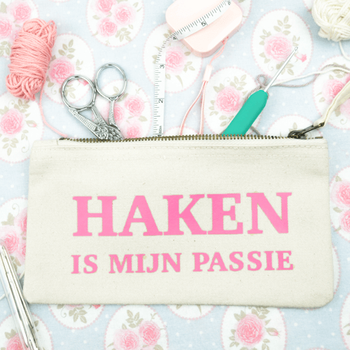 haken is mijn passie - pouch s - etui small - oud roze - productafbeelding.png.png